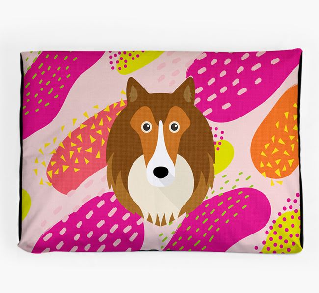 Personalised 'Abstract Design' Dog Bed for your Shetland Sheepdog