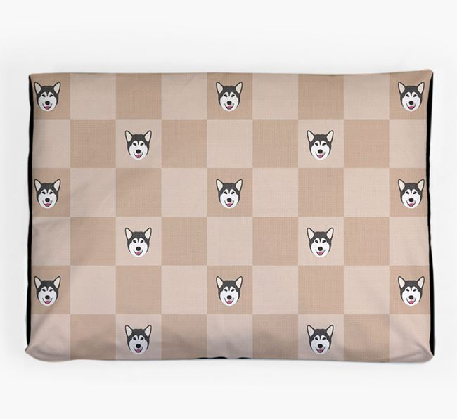 Checkerboard Icon Pattern Dog Bed for your Alaskan Malamute