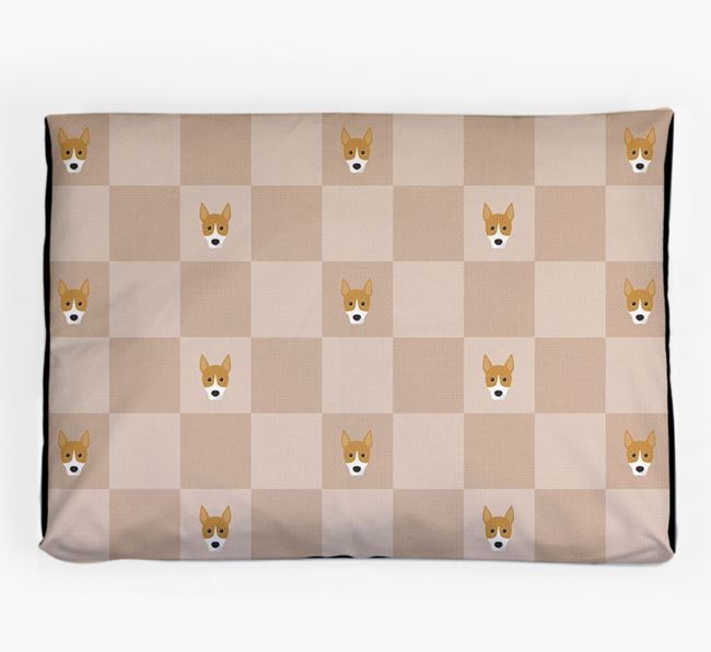 Checkerboard Icon Pattern Dog Bed for your Basenji