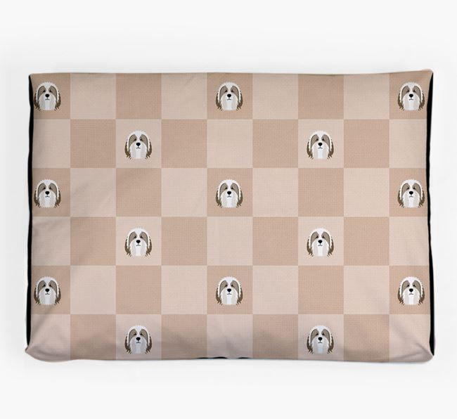 Checkerboard Icon Pattern Dog Bed for your Bearded Collie