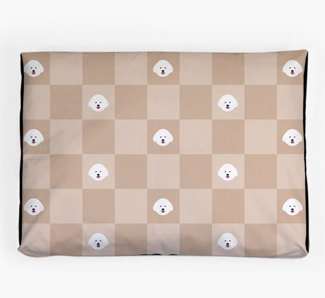 Checkerboard Icon Pattern Dog Bed for your Bichon Frise