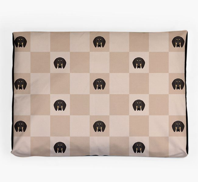 Checkerboard Icon Pattern Dog Bed for your Black and Tan Coonhound