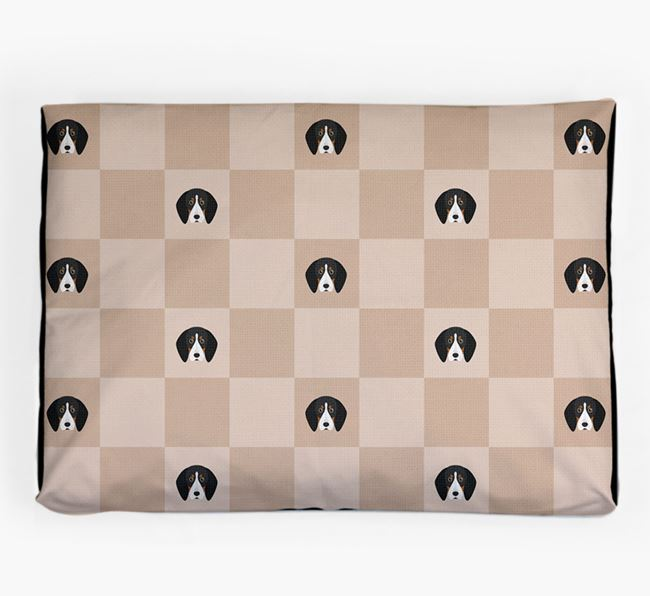 Checkerboard Icon Pattern Dog Bed for your Bluetick Coonhound