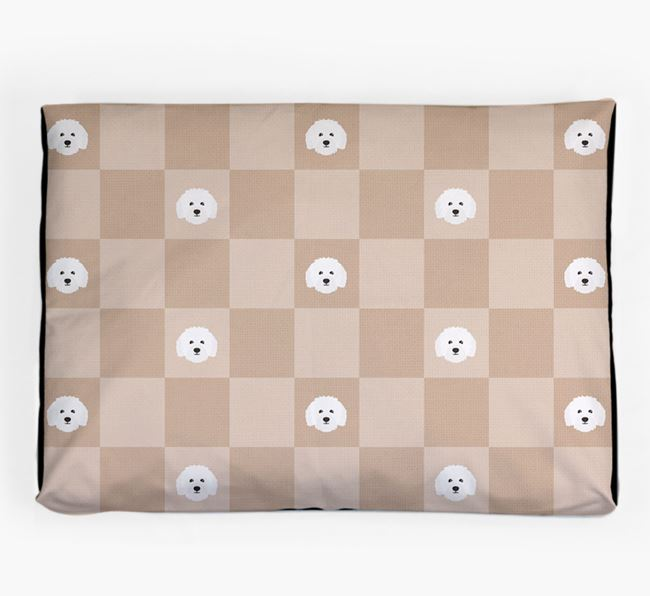 Checkerboard Icon Pattern Dog Bed for your Bolognese