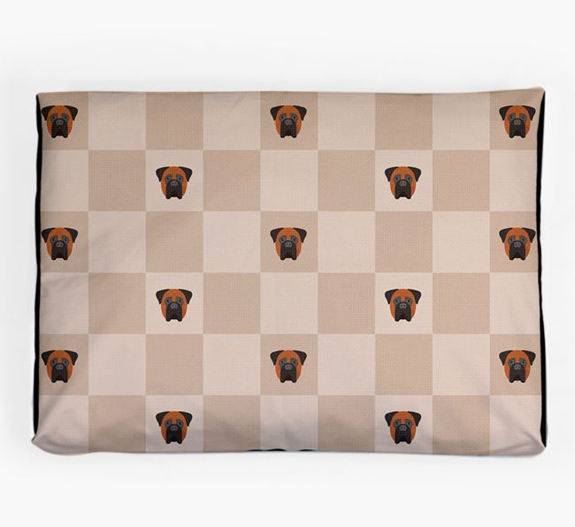 Checkerboard Icon Pattern Dog Bed for your Bullmastiff