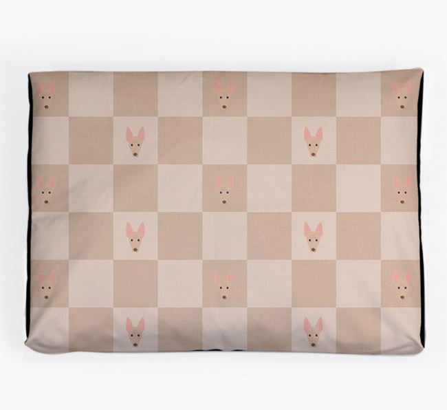 Checkerboard Icon Pattern Dog Bed for your Cirneco Dell'Etna