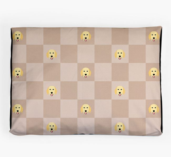 Checkerboard Icon Pattern Dog Bed for your Flat-Coated Retriever
