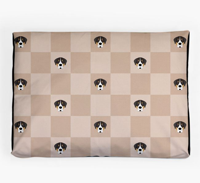 Checkerboard Icon Pattern Dog Bed for your Greater Swiss Mountain Dog