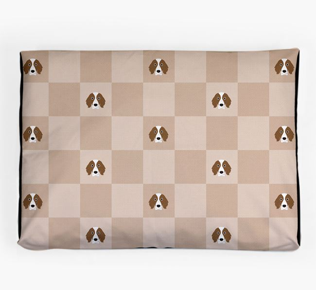 Checkerboard Icon Pattern Dog Bed for your Irish Red & White Setter