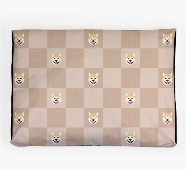 Checkerboard Icon Pattern Dog Bed for your Japanese Akita