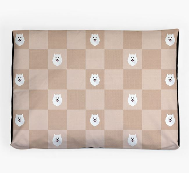Checkerboard Icon Pattern Dog Bed for your Japanese Spitz