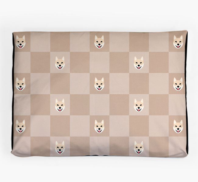 Checkerboard Icon Pattern Dog Bed for your Korean Jindo