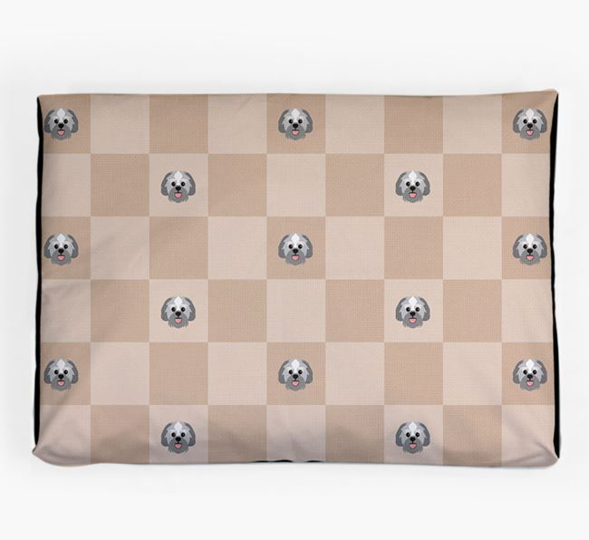 Checkerboard Icon Pattern Dog Bed for your Lachon