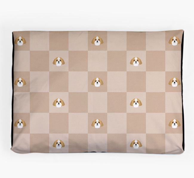 Checkerboard Icon Pattern Dog Bed for your Lhasapoo