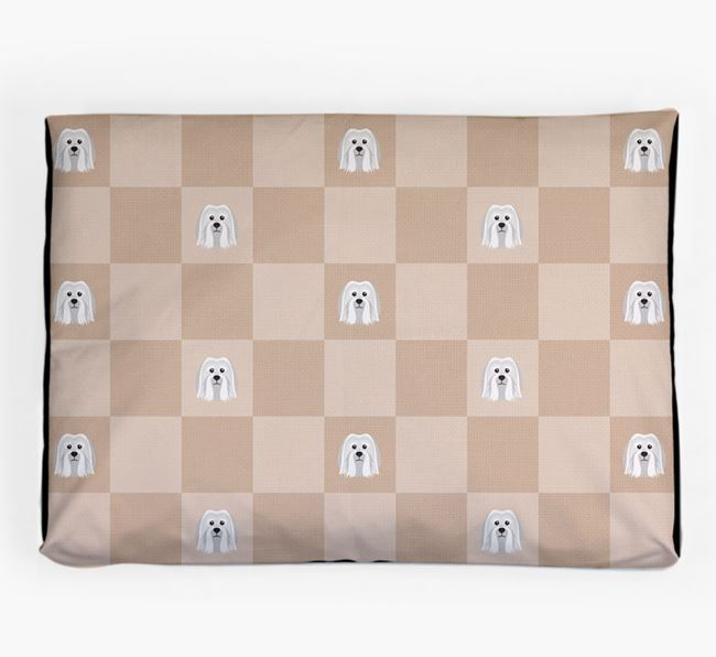 Checkerboard Icon Pattern Dog Bed for your Löwchen