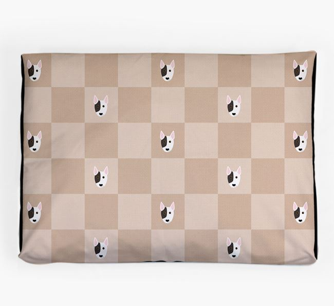 Checkerboard Icon Pattern Dog Bed for your Miniature Bull Terrier