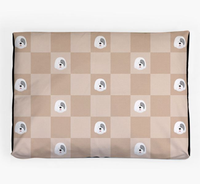Checkerboard Icon Pattern Dog Bed for your Old English Sheepdog