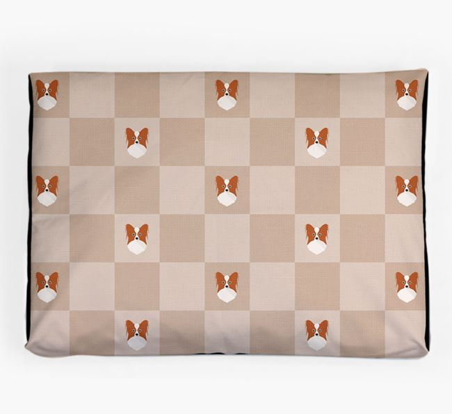 Checkerboard Icon Pattern Dog Bed for your Papillon