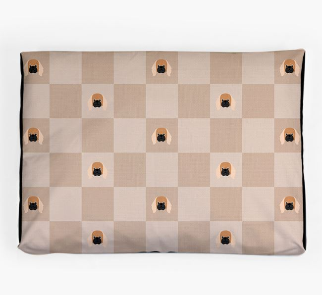 Checkerboard Icon Pattern Dog Bed for your Pekingese