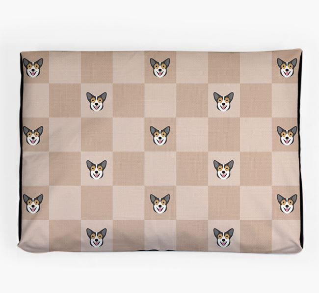 Checkerboard Icon Pattern Dog Bed for your Pembroke Welsh Corgi