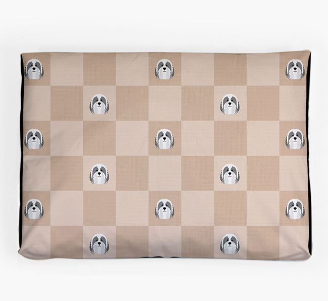 Checkerboard Icon Pattern Dog Bed for your Polish Lowland Sheepdog