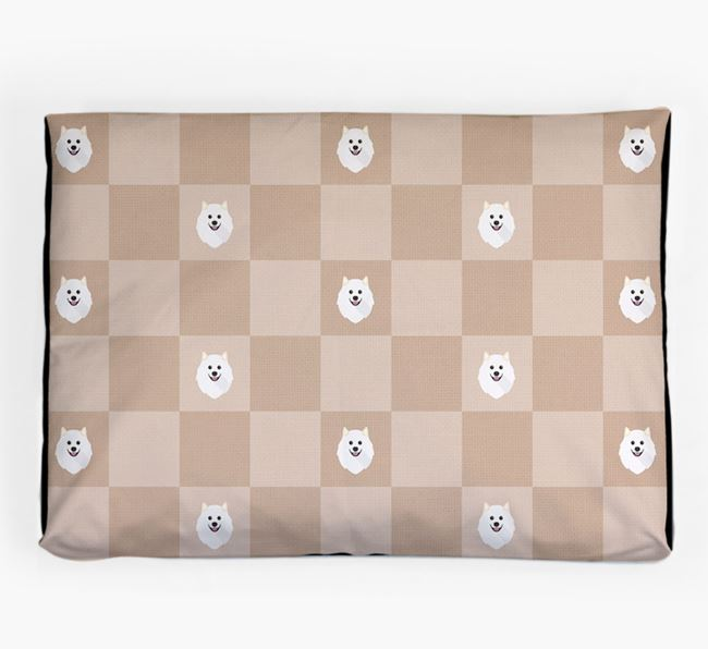 Checkerboard Icon Pattern Dog Bed for your Samoyed