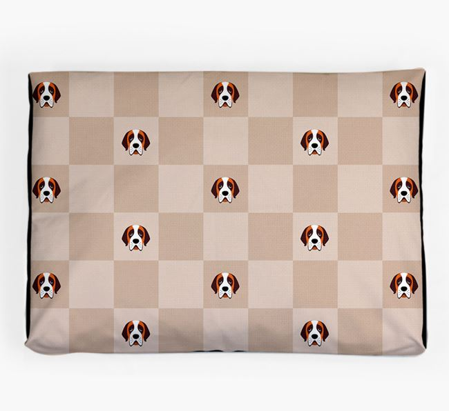 Checkerboard Icon Pattern Dog Bed for your St. Bernard