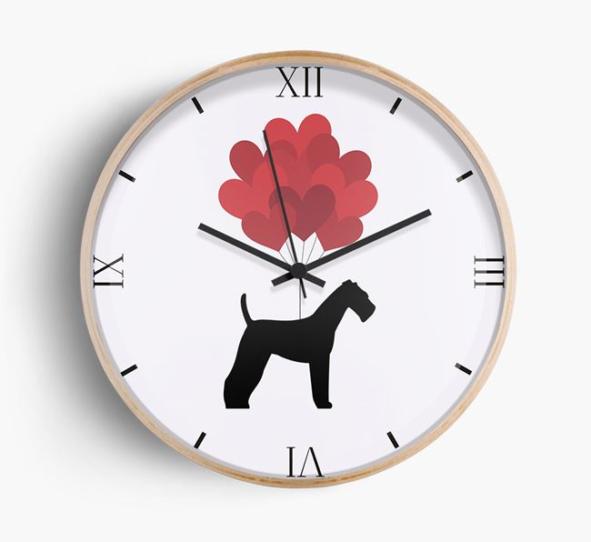 Heart Balloons Wall Clock with Airedale Terrier Silhouette