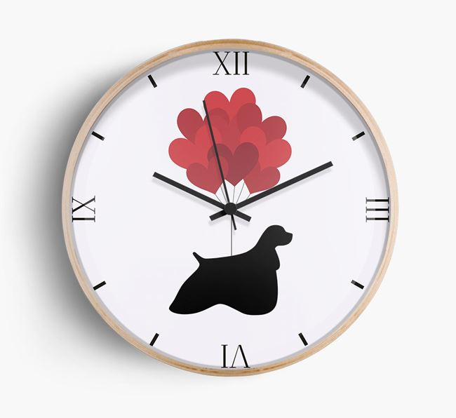 Heart Balloons Wall Clock with American Cocker Spaniel Silhouette