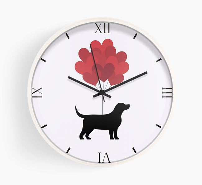 Heart Balloons Wall Clock with Bassador Silhouette