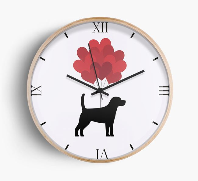 Heart Balloons Wall Clock with Beagle Silhouette