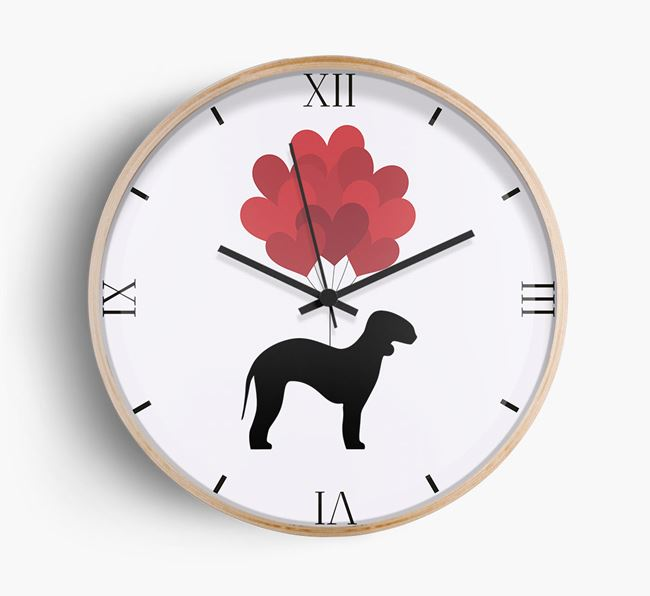 Heart Balloons Wall Clock with Bedlington Terrier Silhouette