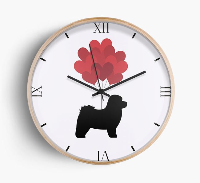 Heart Balloons Wall Clock with Bolognese Silhouette