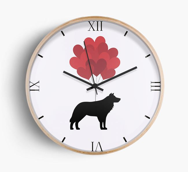 Heart Balloons Wall Clock with Border Collie Silhouette