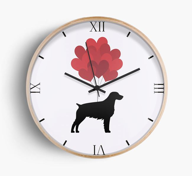 Heart Balloons Wall Clock with Brittany Silhouette
