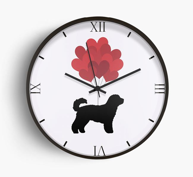 Heart Balloons Wall Clock with Cavachon Silhouette