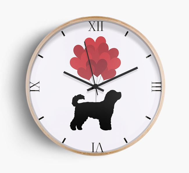 Heart Balloons Wall Clock with Cavapoochon Silhouette