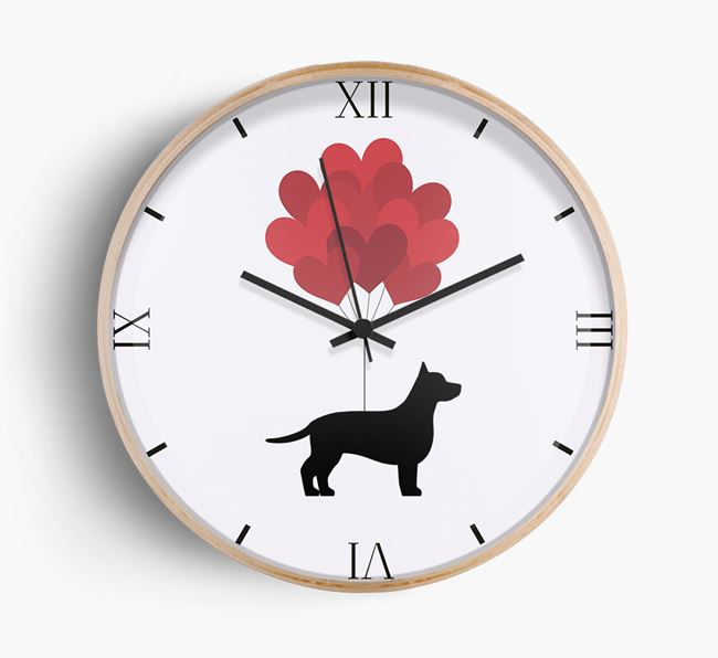 Heart Balloons Wall Clock with Chiweenie Silhouette