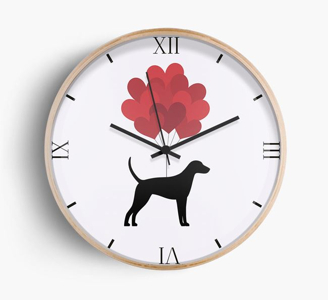 Heart Balloons Wall Clock with Foxhound Silhouette