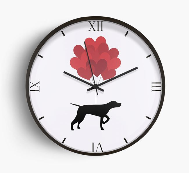 Heart Balloons Wall Clock with German Shorthaired Pointer Silhouette