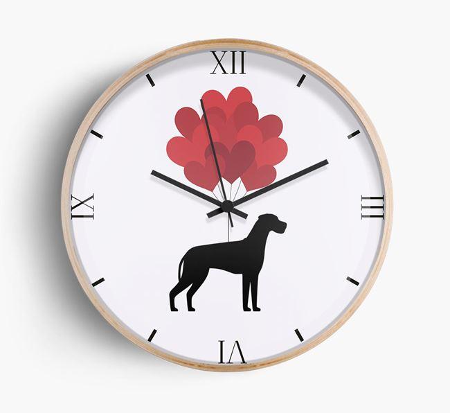 Heart Balloons Wall Clock with Great Dane Silhouette