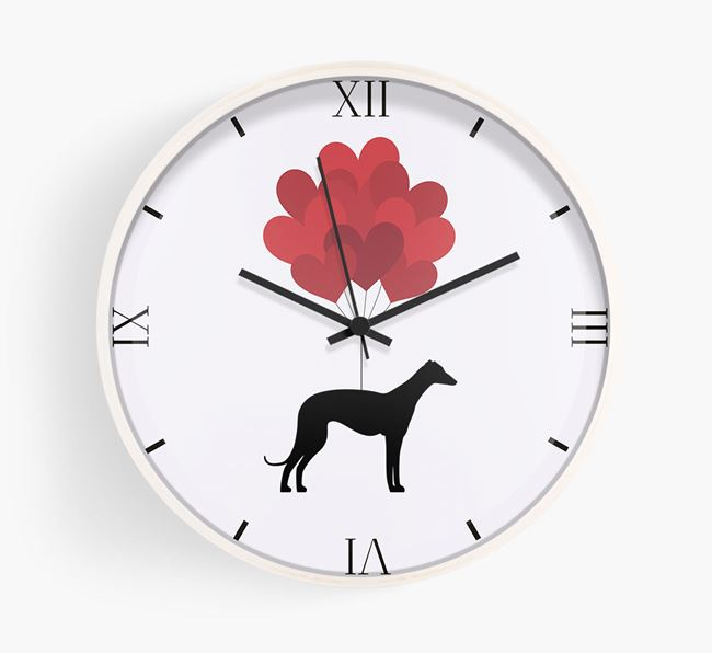 Heart Balloons Wall Clock with Greyhound Silhouette