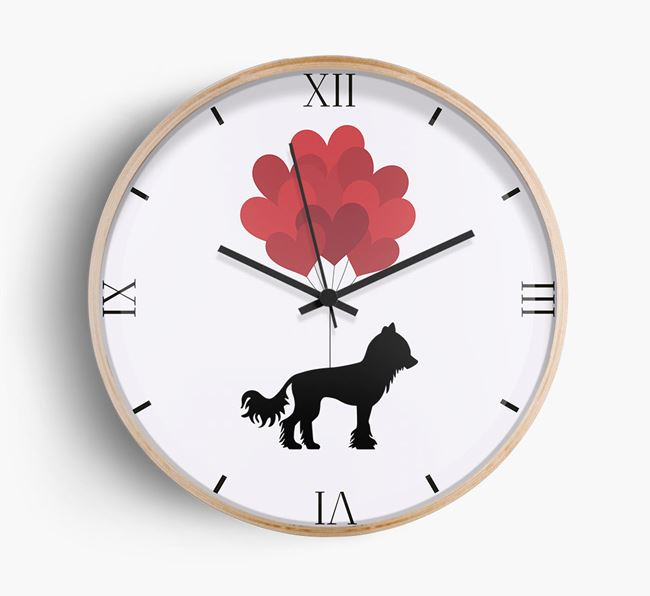 Heart Balloons Wall Clock with Hairless Chinese Crested Silhouette