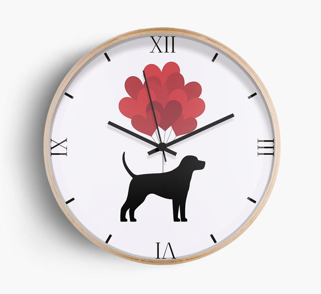Heart Balloons Wall Clock with Harrier Silhouette