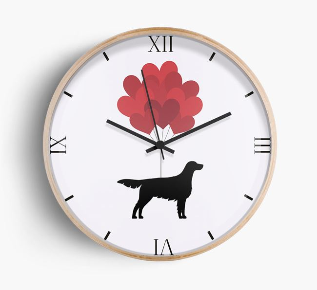 Heart Balloons Wall Clock with Irish Setter Silhouette