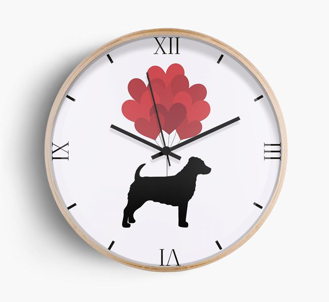 Heart Balloons Wall Clock with Jack-A-Poo Silhouette
