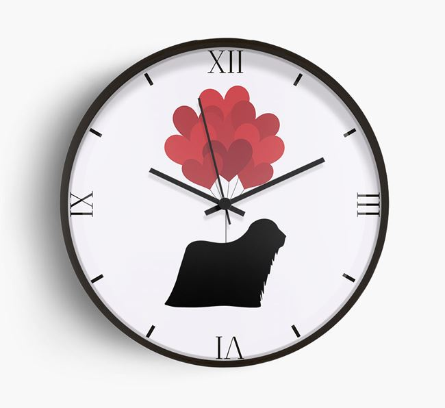 Heart Balloons Wall Clock with Komondor Silhouette