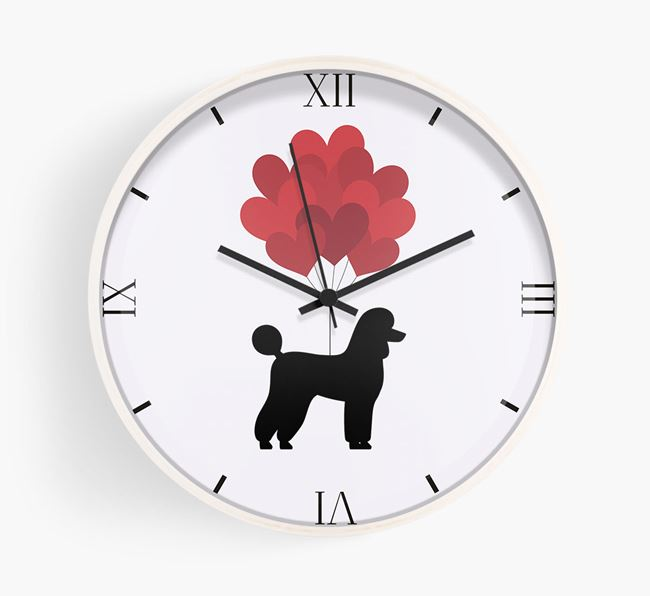 Heart Balloons Wall Clock with Poodle Silhouette