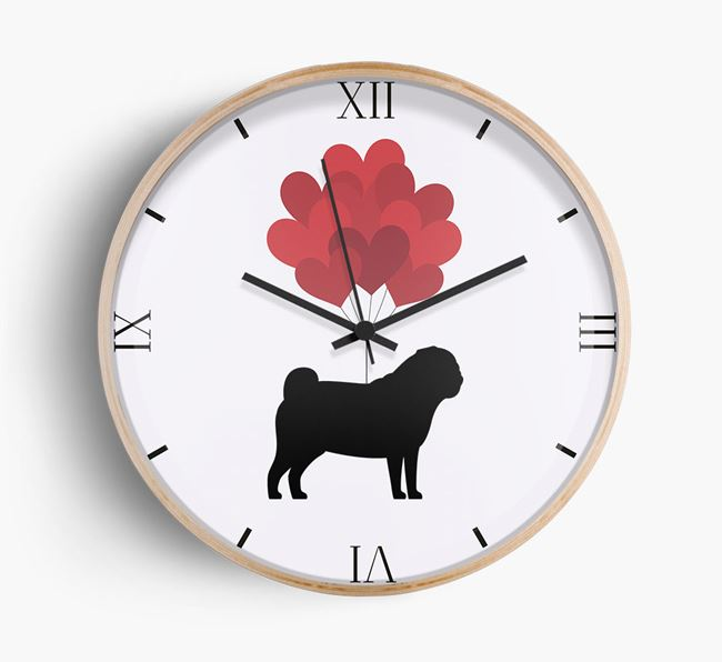 Heart Balloons Wall Clock with Dog Silhouette