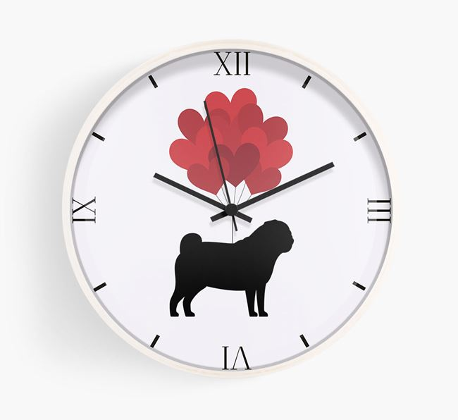 Heart Balloons Wall Clock with Pug Silhouette